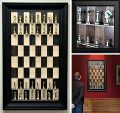 Straight Up Chess makes chess boards that fit today's life style. The vertical wall mounted board is one part game, one part wall decor. The chess board's tiles become the back drop to pieces that sit on acrylic shelves. A decorative frame turns it into an art piece, to be played until you're ready for the next match up.