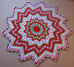 Crochet Christmas starburst ripple afghan