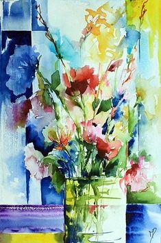 Bouquet de Pondy 04 (Peinture),  30x40 cm par Véronique Piaser-Moyen Aquarelle originale sur papier 300G