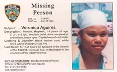 Veronica Aguires~ Missing Dec 22nd, 2003 from Manhattan, New York- no further updates :(