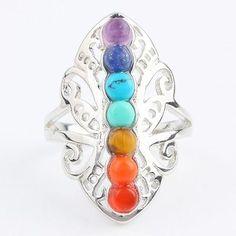 7-Chakra-Healing-Crystal-Quartz-Stone-Gemstone-Butterfly-Finger-Ring-Jewelry