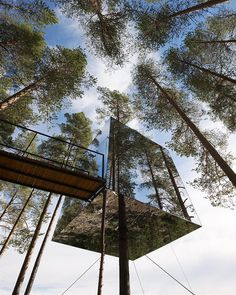 Treehotel, Sweden. Reflects the natural environment. Someday before I die!