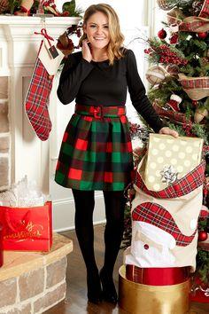 Yule Be Merry Plaid Skater Dress