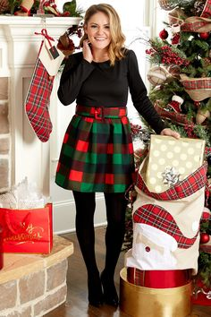 Yule Be Merry Plaid Skater Dress
