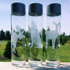 Father's Day Idea. Etched Glass Water Bottles or Etched Beer Mug.