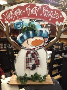 Cute wood snowman craft. Welcome snowman. More