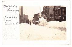 BC – VICTORIA, B.C. Electric Train Clearing Snow on Douglas Street c.1916 RPPC