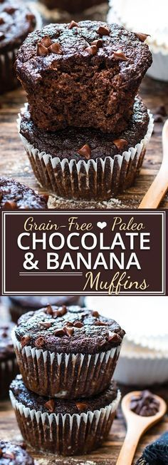 You won't believe how good these Paleo Chocolate Banana Muffins taste and they're healthy enough to eat for breakfast!! They're made with coconut flour, almond flour and sweetened with pure maple syrup for a grain-free, gluten-free, dairy-free and refined