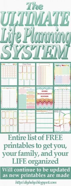Entire List of FREE Printables to get you, your family, and your life organized!