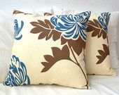 Big blue flower pillow covers set of 2