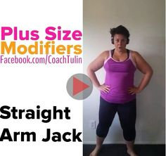 Plus size - Straight Arm Jacks - Insanity Max -   There are many different levels of modification &some times we have to know how to further modify based on our ability. It doesn't matter if you are plus size just starting out or re-engaging in fitness. One of the top reasons why people quit, is because they cannot keep up with the moves, even the modifier, getting discouraged. DON'T! It is a part of the journey and my goal is to show you how to modify and build up your ability.