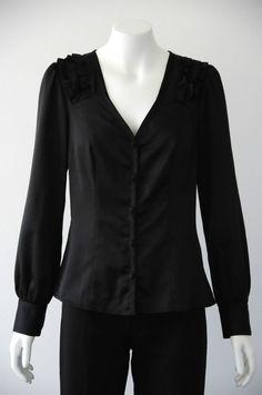 Review  Women s Button Up V Neck Top Blouse Vest With Frill Detail EUC {Size 8}
