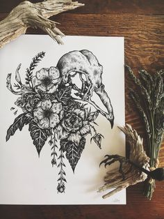 A great illustration featuring a sparrow skull in a bridal bouquet of roses, anemones in addition to other flora. Animal Skull Tattoos, Bird Skull Tattoo, Small Skull Tattoo, Feminine Skull Tattoos, Skull Tattoo Flowers, Dark Art Tattoo, Sugar Skull Tattoos, Skull Tattoo Design, Animal Skulls