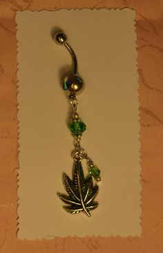 Green Glitter Marijuana Leaf Rhinestone Crystal Belly Button Bling by crafts4thecure, $12.50