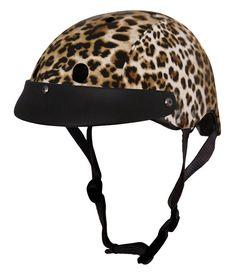 Leopard print bike helmet by Sawako Furuno