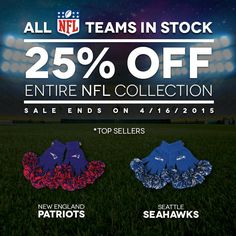 Spring Cleaning Sale! 25% off discount on ALL NFL gloves!! Spring into the NFL season early!!