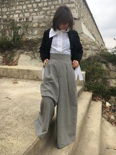 Wide Leg Pants, Boho Pants, High Waist Pants, Wool Clothing, Harem Skirt Pants, Wool Pants, Plus Size Clothes, Retro Pants, Gray Pants