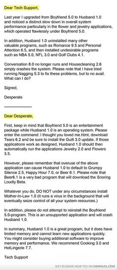Dear Tech Support... Marriage Help Line