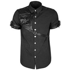Men Black Short Sleeve Button Down Steam Punk Fashion Casual Shirts SKU-11407437