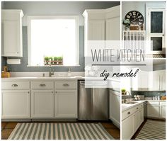 Builder Grade Kitchen Transformation With White Paint, Blue Gray Tile Back Splash, White Counter Top