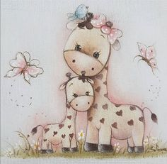 Baby animals painting for kids new Ideas Baby Painting, Nursery Paintings, Painting For Kids, Fabric Painting, Nursery Art, Disney Drawings, Cartoon Drawings, Easy Drawings, Cute Giraffe