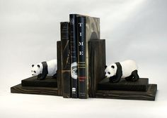Pandas Bookends Wood Wooden Book Ends Bookshelf by EclecticForest