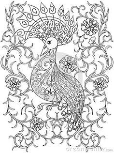 See More Coloring Page With Bird In Flowers Zentangle Illustartion