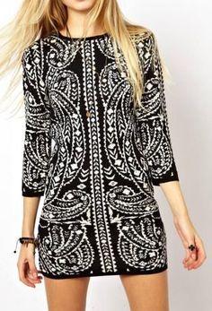 Bodycon Knit Dress In Metallic Baroque Pattern