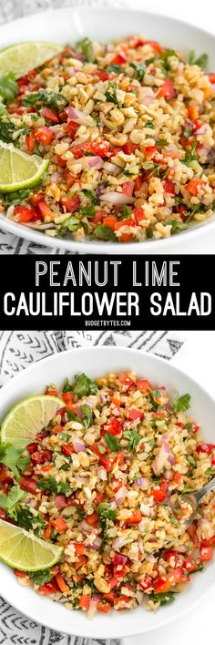 Riced cauliflower makes a filling low-carb base for this fresh and vibrant Thai-inspired Peanut Lime Cauliflower Salad.