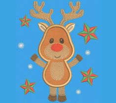 INSTANT DOWNLOAD Christmas Reindeer Embroidery Applique Design New Year Decor CHR010