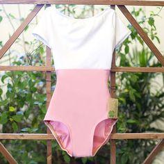 Classic pink and white cap sleeve leotard handmade from Luckyleo Dancewear!