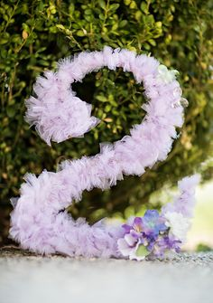 numbers with tutu fabric - taken from a Dreamy Lavender Woodland Fairy Party