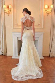 Best of Backless Wedding Gowns: Dresses to Adore – Part 3 - Hochzeitskleid Ideen Lace Back Wedding Gowns, 2 Piece Wedding Dress, Open Back Wedding Dress, Wedding Dress Trends, Backless Wedding, Best Wedding Dresses, Wedding Attire, Bridal Dresses, Wedding Ideas