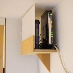 ルーター置き場 : welcome to my home! Modem Internet, Diy Storage, Storage Spaces, Hide Cables, Hide Cable Box, Table Diy, Tatami Room, Bookcase Shelves, Diy Holz