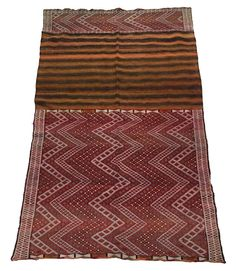 Originally woven as a grain sack (it would have been folded and sewn up), now opened up and washed, it's a beautiful and intricately created sturdy wool and cotton flat weave that can be used as a kilim. In nice vintage  condition  Size : 2.83M by 1.44M