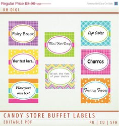 75 OFF SALE Editable PDF Party Food Buffet Labels  Candy by KHDigi, $1.00