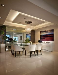 65 New False Ceilings with Cove Lighting Design for Living Room – - Ceiling design Gypsum Ceiling Design, House Ceiling Design, Ceiling Design Living Room, Home Ceiling, Living Room Lighting, Dining Room Design, House Design, Cove Lighting Ceiling, Ceiling Beams