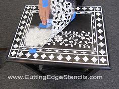 This Cutting Edge Stencils Indian Inlay stencil tutorial shows how to revamp furniture with stencils. Using reusable stencils is cheaper than buying furniture. Hand Painted Furniture, Funky Furniture, Paint Furniture, Upcycled Furniture, Furniture Makeover, Furniture Stores, Furniture Projects, Cutting Edge Stencils, Diy Painting