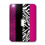 Pink Black and White Animal Print, Leopard and Zebra, Single Toggle Switch