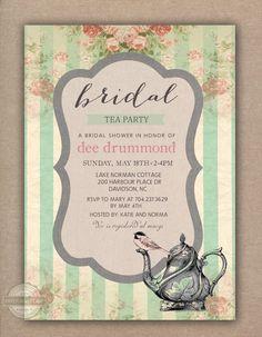 Tea Party Floral Bridal Shower Bridal Luncheon Wedding Baby Shower Vintage Invitation Printable Digital