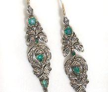 Antique Georgian Emerald & Diamond Earrings