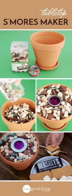You can have all the summer fun of roasting marshmallows and making s'mores - without a campfire! This tabletop s'mores maker is unbelievably easy to make. How To Make S, Fun To Be One, Diy Hacks, Diy Spring, Spring Crafts, Diy Table Top, Diy And Crafts, Crafts For Kids, Farm Crafts