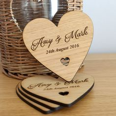 Wooden Heart Wedding Table Coaster - Personalised Keepsake Favours for Guests - Pretty Personalised