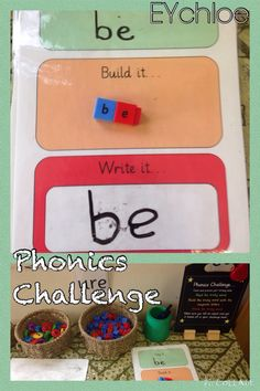This weeks phonics challenge with a focus on tricky words. Children need to say it, build it or write it. Green = easy Amber= medium Red = hard Focus on children choosing challenge. By Miss Grey and Play! Phonics Words, Phonics Games, Jolly Phonics, Teaching Phonics, Preschool Literacy, Preschool Songs, Phonics Activities, Language Activities, Kindergarten Activities