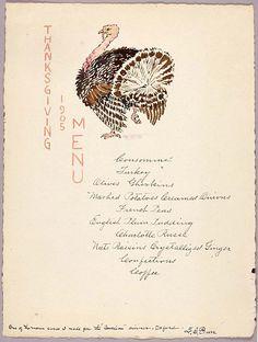 Thanksgiving menu 1905