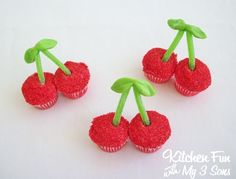 Kitchen Fun With My 3 Sons: Mini Cherry Cupcakes with candy stems and cherry flavor!  So easy to make and so cute!