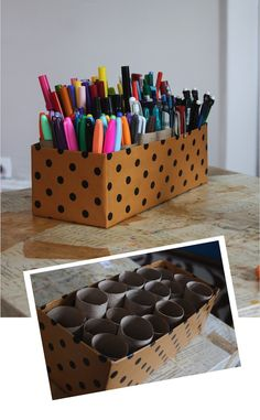 25 Genius Craft Ideas | Easy marker caddy made out of toiet paper rolls and a shoebox.