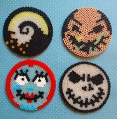 Melty Bead Patterns, Pearler Bead Patterns, Perler Patterns, Beading Patterns, Perler Bead Templates, Diy Perler Beads, Perler Bead Art, Halloween Beads, Halloween Prop