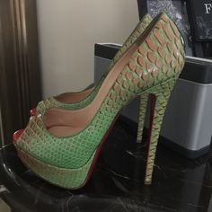 "Authentic Christian Louboutin Lady Peeps.⚡️ Gorgeous snake skin ""Fairy Tale"" Lady Peep heels. Super hot! Make me an offer. Christian Louboutin Shoes Heels"