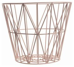 Wire Medium Basket - Ø 50 x H 40 cm Rose by Ferm Living - Design furniture and decoration with Made in Design